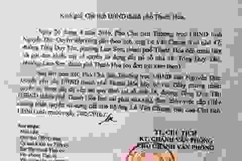 UBND tỉnh Thanh Hoá yêu cầu xử lý dứt điểm vụ 1 thửa đất cấp 4 sổ đỏ