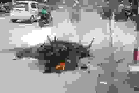Xe máy cháy rụi khi đang chạy trên đường