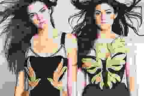 Hai em xinh đẹp của cô Kim xuất hiện trên bìa báo lớn