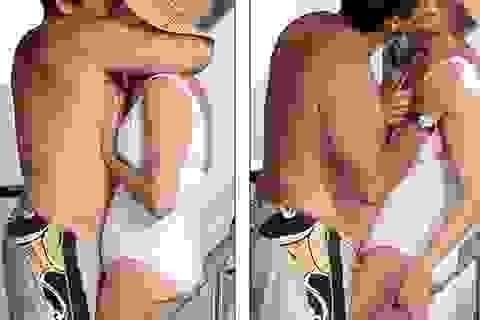 Mỹ nhân 43 tuổi Uma Thurman diện áo tắm và hôn chồng say đắm