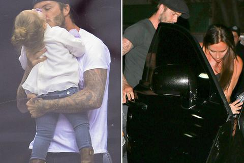 """David Beckham ga lăng với """"bà xã"""", cưng nựng con gái út"""