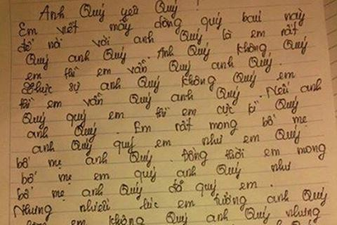 """Hài hước lá thư tình có 39 chữ """"Quý"""""""