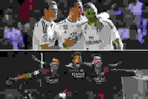 Messi-Neymar-Suarez ghi bàn gấp đôi Benzema-Bale-Ronaldo trong năm 2015
