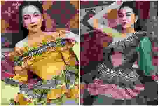 9x xinh đẹp Hà Nội biến tấu lạ mắt với trang phục họa tiết dân tộc
