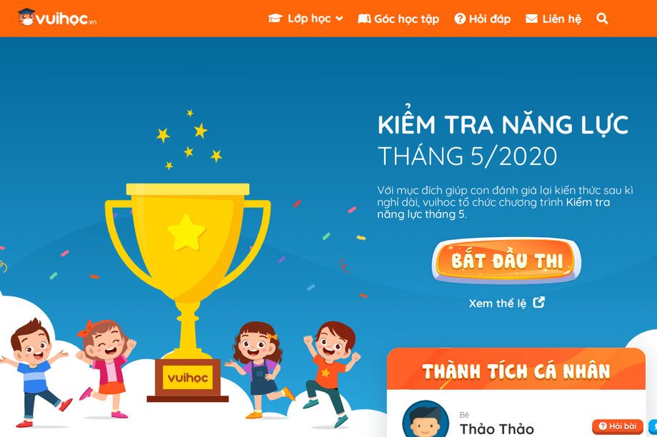 Học sinh Tiểu học cả nước được kiểm tra năng lực miễn phí trên Vuihoc.vn