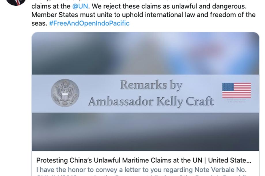 Những điểm đáng lưu ý trong công thư về Biển Đông mà Mỹ gửi lên LHQ