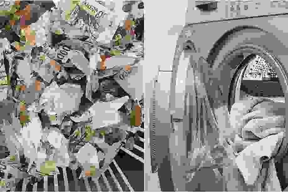"""Sợ virus corona, người đàn ông cho toàn bộ tiền vào máy giặt để """"rửa"""""""