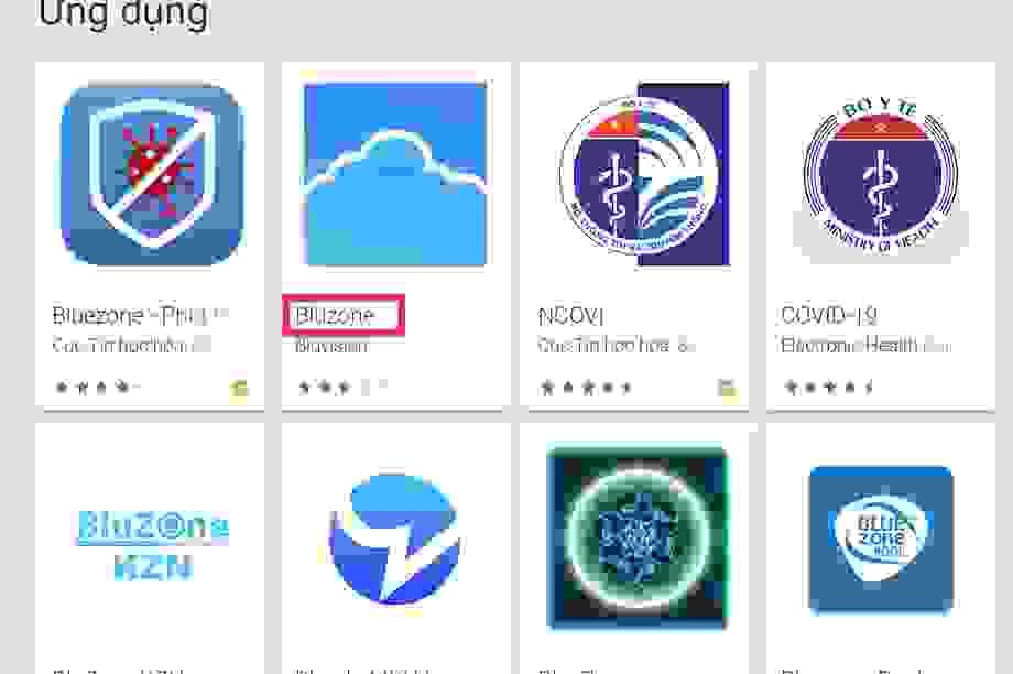 Nhiều người Việt đang nhầm lẫn 'Bluezone' với 'Bluzone' trên kho ứng dụng