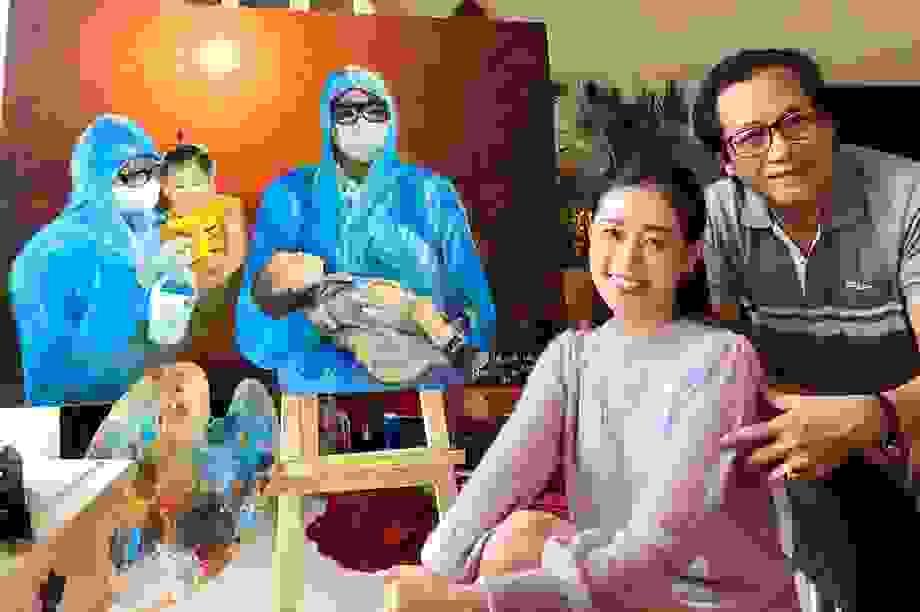 Cảm động bức tranh bác sĩ bế bé bị Covid-19 do cha con Hoa hậu Khánh Vân vẽ