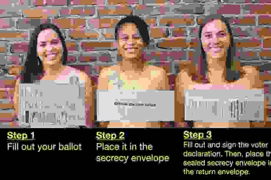 """Ba nữ chính trị gia Mỹ khỏa thân cảnh báo cử tri về """"phiếu bầu trần trụi"""""""